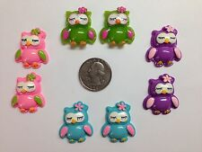8 Pcs Lot Owl Flatback Resin Cabochon Hair Bow Centers.
