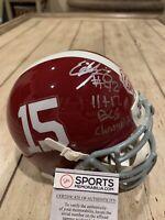 Eddie Lacy Autographed/Signed Mini Helmet Alabama Crimson Tide BCS Champs