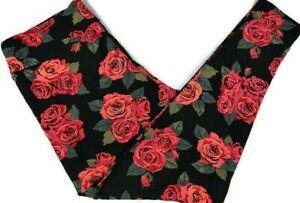 Lularoe Womens Leggings TC2 18-28W Black & Red Roses Floral Tall & Curvy 2 Soft