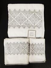 New Peri Home 3 Pc Set White+Gray 100% Cotton Bath,Hand Towel+Washcloth