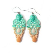 Chandelier Pastel Peach and Mint Green Prom Wedding Romantic Earrings Jewelry