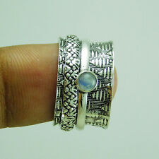925 Sterling Silver Plated Rainbow Moonstone Spinner Ring US Size 9 R-1057