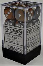 Chessex Gemini 16mm d6 Copper Steel w/ White Dice Block 12 Die Set CHX 26624