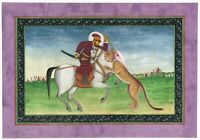 Mughal Emperor Shahjahan Hunting The Tiger Indian Miniature Hunting Art Painting