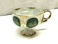 Antique Porcelain Gold Gilt Lusterware Scalloped Footed Tea Cup
