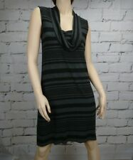 Meredith Dress Size S Black Grey Striped Stretch Knit Sleeveless Pockets