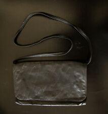Porat Ladies Leather Black Shoulder Bag / Purse Clutch w Strap - 1950's Israel