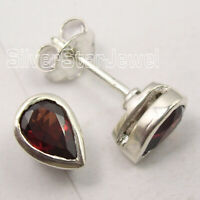 Red Drop Garnet Stud Post Earrings Women Gems Jewelry 925 Fine Silver