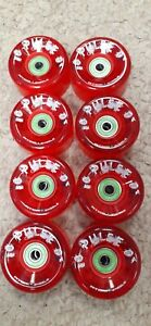 Atom Pulse Outdoor 8 Skate Wheels Red 62mm 78a w/ Bionic 8mm ABEC 7 bearings