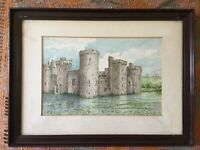 Antique Watercolour Of Bodiam Castle Signed H G Holoway c1925 ? Framed Painting