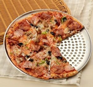 Heavy Duty Commercial/Home Aluminuim Thin Crust Perforated Pizza Pan Oven Tray