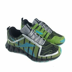Reebok Boys Sneakers Size 4.5 Zig Tech Lime Green Teal Blue Gray Athletic Shoe