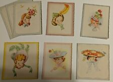 Vintage 1950's Blank Note Cards Girls in Hats Unused