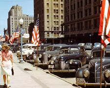 ANTIQUE CARS IN TOWN LINCOLN, NEBRASKA 1942 8x10 SILVER HALIDE PHOTO PRINT