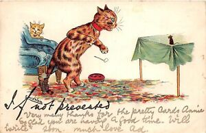 F63/ Artist Signed Louis Wain Dressed Cats Postcard c1910 Mouse Pipe Table 2