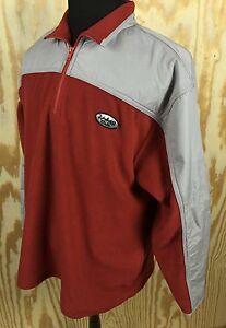 Vtg Rainforest Cafe Mens Pullover Fleece Jacket XL Coat Red Gray Polyester Logo