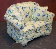Dollhouse Miniature Blue Floral Loveseat 1:12 one inch scale E57 Dollys Gallery