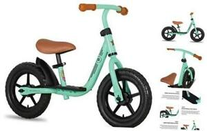 """10""""/12"""" Kids Balance Bike with Footrest for Girls & Boys, Ages 10 Inch Green"""