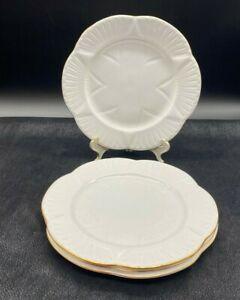 SHELLEY REGENCY BONE CHINA SALAD PLATES WITH GOLD TRIM SET OF 4