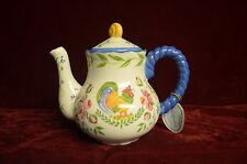 "(Pamela Palmer) 1975 colorful Rooster, pink flowers teapot 7 1/2"" Hand Painted"