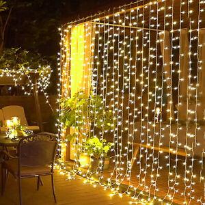 300LED Solar Power Fairy Curtain String Lights Outdoor Xmas Wedding Party Garden