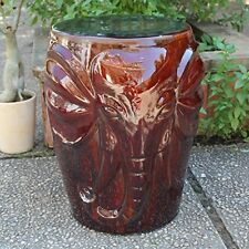 Brown Wild Elephant Drum Ceramic Garden Stool Opg-064-Bn New