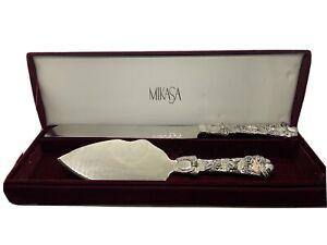 Mikasa Silver Knife and Cake Server Wedding Set In Velvet Box