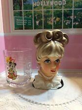 vtg Lady head Vase beautiful eyes Open rubens 4123 Japan large costume