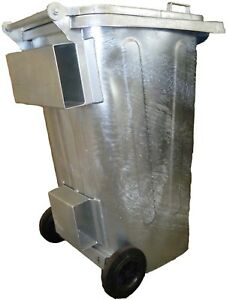 Mülltonne / Müllgroßbehälter Stahl / verzinkt 240 liter mit Staplertaschen