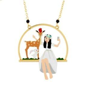 N2 & Les Nereides Snow White Necklace enamel painted Handmade mit OVP