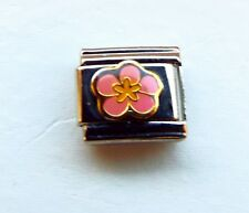 Pink flower enamel 9mm stainless steel Italian charm bracelet link new