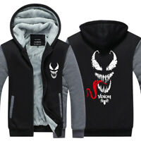 Marvel Venom Hoodie Zipper Sweatshirt Print Hooded Warm Coat Unisex Jacket Top