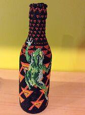 Vtg Native American beaded frog bottle art painting decor tribal African reptile