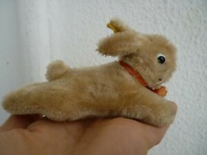 vintage Steiff,small,lying,bunny rabbit,hare,light brown mohair,button & label