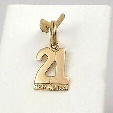 14K Gold #21 Bermuda Souvenir Charm Pendant 0.9gr