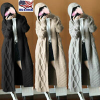 Womens Long Sleeve Chunky Knitted Cardigan Sweater Casual Outwear Coat Jacket US