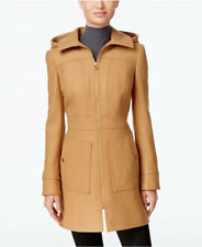6034f2af881 NEW MICHAEL KORS $275 CAMEL ZIP FRONT WOOL BLEND HOODED COAT SZ M MEDIUM