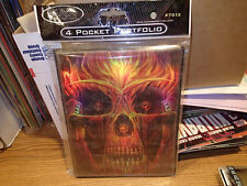 Max Protection 4 Pocket Portfolio #7030 FMA Flaming Skull   Brand New!