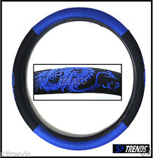 Dragon Steering Wheel Cover Blue Black Mesh Stitch Detailing