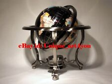 "(open box)14"" Black ocean Silver 3- leg table stand Gem MOP Gemstone World globe"