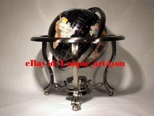 "(open box)14"" Black ocean Silver 3- leg table stand Gem MOP Gemstone World globe"
