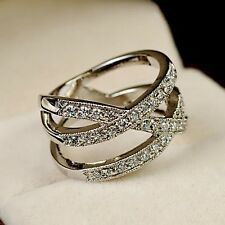 White Gold gp Lab Diamond Wedding Party Anniversary Wide Cross Band Ring Size 6