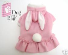 Pink Bunny Easter Dress Halloween Yorkie Chihuahua Fleece Dog Party Costume XXS