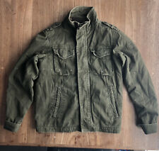 Abercrombie Fitch Sentinel Jacket Men Small Army Green Flannel Lined Utility