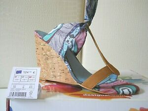 Desigual sandali zeppa Shoes Irene Pelle col.cuoio/text.blu fantasia Eu-39 €124