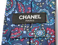 Chanel Authentic Mens Necktie Tie Paisley Navy Blue Vintage 100% Silk VGC