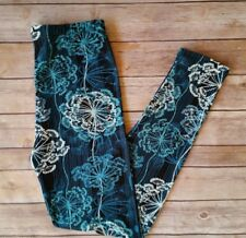 Blue Abstract Leggings Feathers Nature Leaves Print Soft ONE SIZE