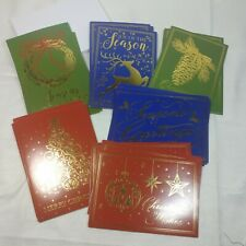 Christmas Holiday Cards with Gold Foil, Pack of 24, 5 x 7 Inches, 6 Designs
