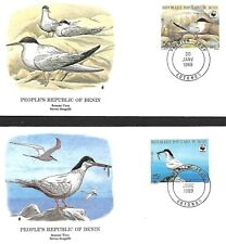 BENIN 1989 TWO FIRST DAY COVERS, WORLD WILDLIFE FUND, FEEDING ON FISH, PERCHED