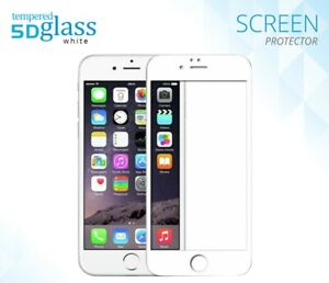 5D Full Cover Tempered Glass Screen Protector Film For iPhone 6 7 8 UK- WHITE